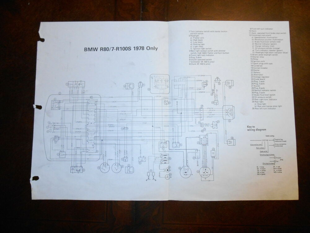 BMW OEM R80/7 R100 S R100 S 1978 Dealer Wiring Diagram eBay
