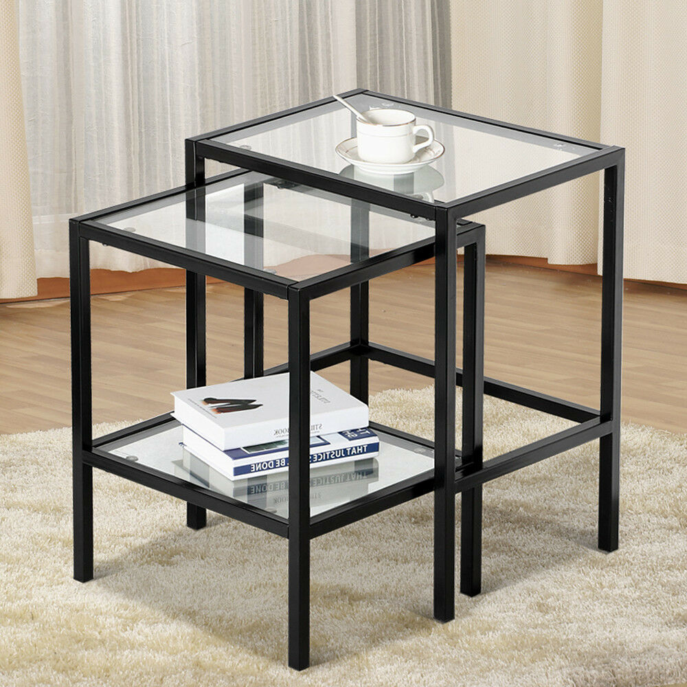 Glass Nesting Tables 2 Pcs Modern Black Metal Glass Nesting Side End Tables With Shelf Set Of 2 675502340802 Ebay