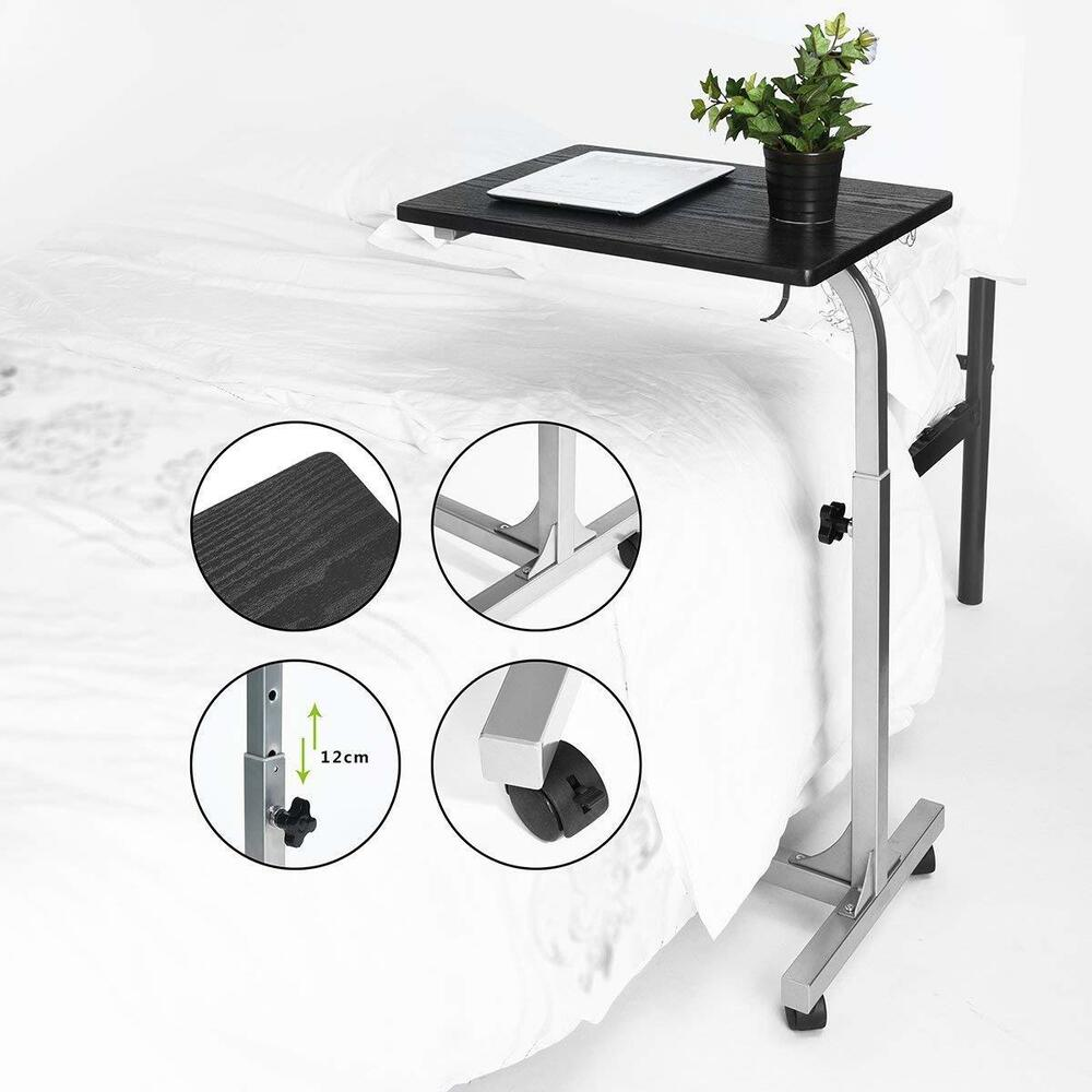 Bed Wheelchair Over The Bed Hospital Wheelchair Tray W Wheels Adjustable Bedside Medical Table Ebay