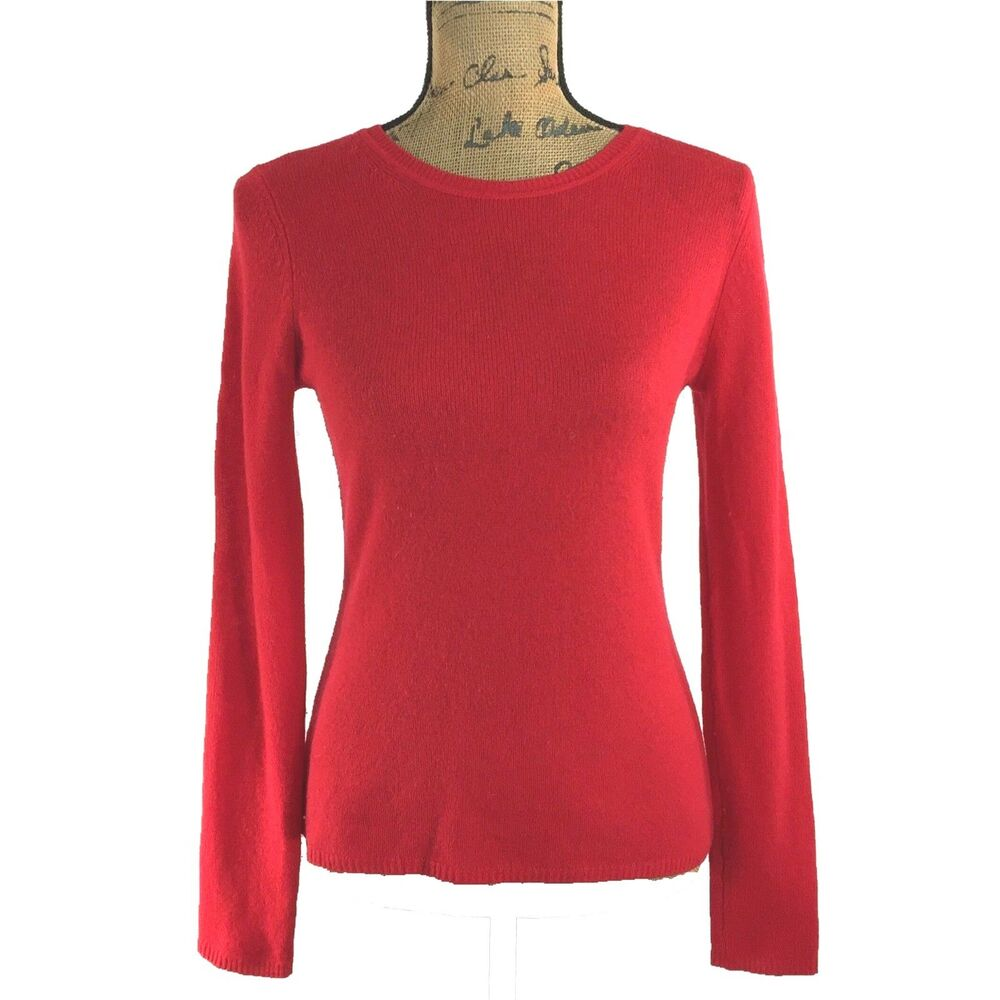Xs Long 100 Cashmere Sweater Red Ellen Tracy Xs Long Sl Crew Neck Stretch Pullover Ebay