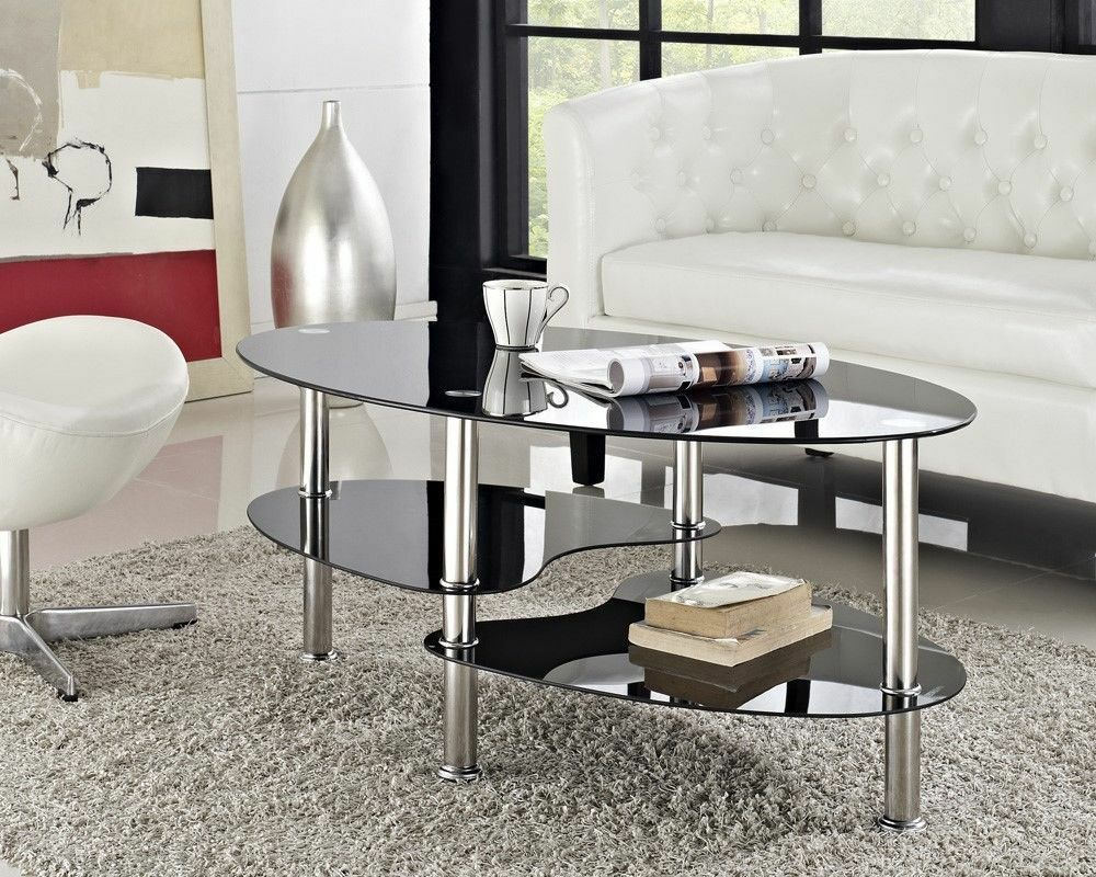 Couchtisch Oval Glas Oval Coffee Table Black Glass Table New Chrome Metal | Ebay