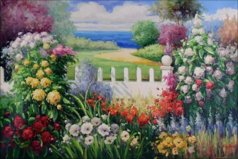 Canvas Hi Beautiful 3d Wallpaper Quality Hand Painted Oil Painting Seaside Flowering Garden
