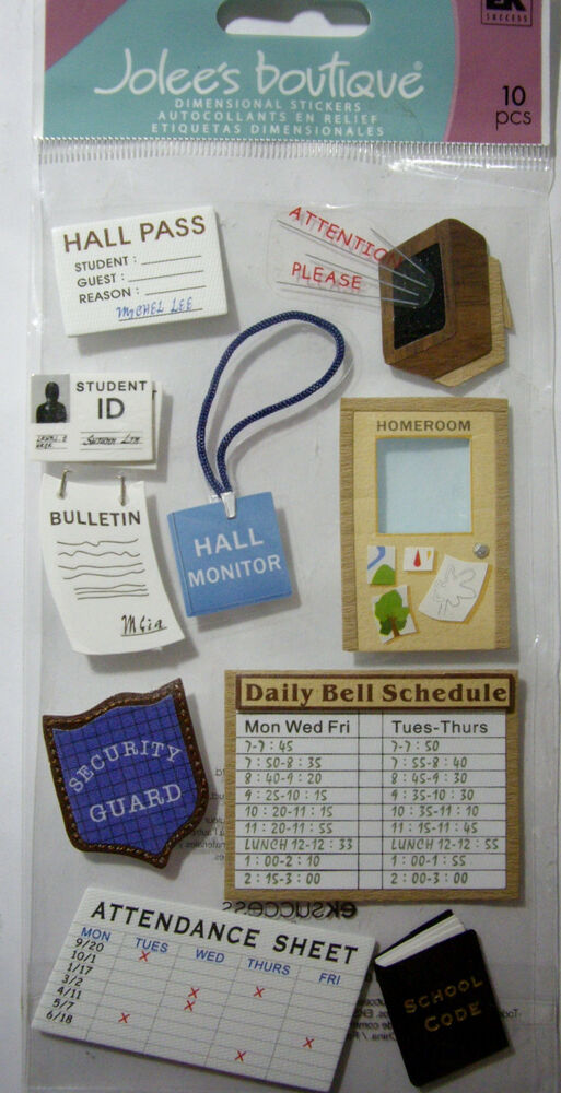 NEW 10 pc SCHOOL Hall Pass Homeroom ID Attendance Schedule JOLEE\u0027S