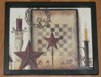 Primitive Country Checker board Barn Star Berries Candles ...