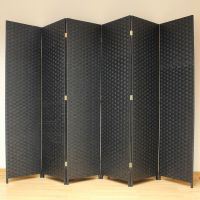 Black 6 Panel Solid Style Wicker Room Divider Hand Made ...