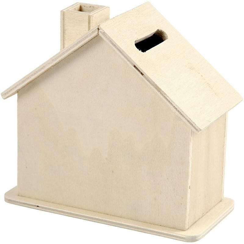 House Shaped Money Box Small Plain Wood Wooden Craft