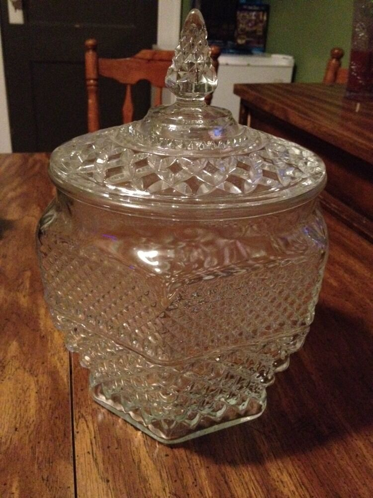 Keksdose Glas Vintage Wexford Indiana Clear Glass Diamond Point Cookie