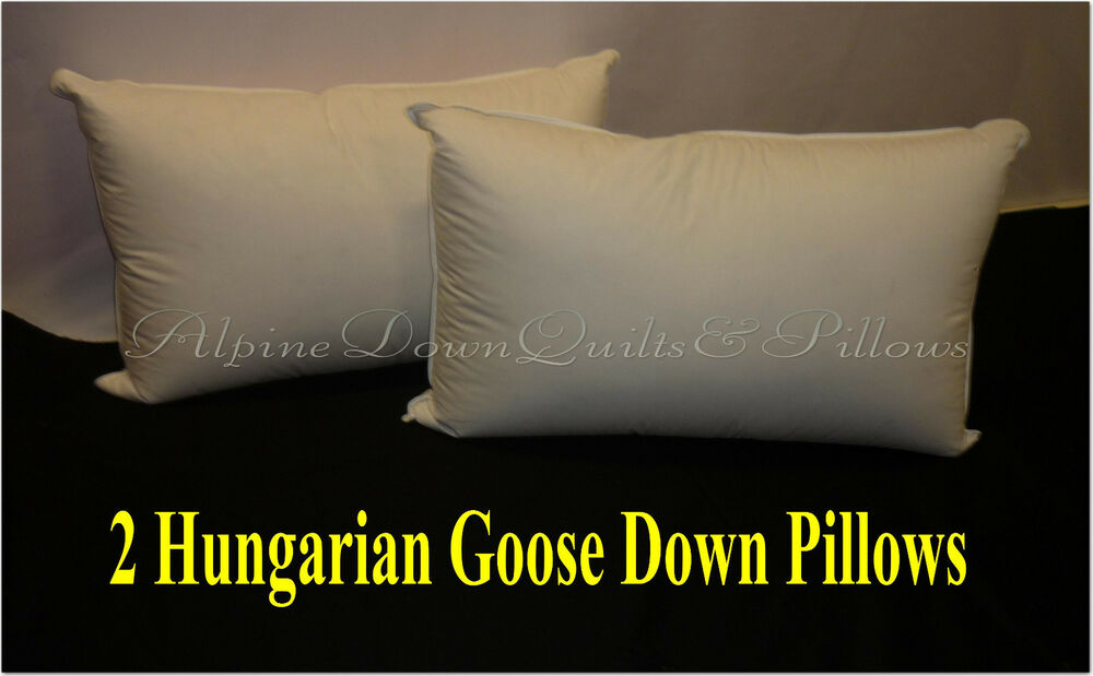 Kingsize Bed 2 X King Size Pillows 95% Hungarian Goose Down 100% Cotton