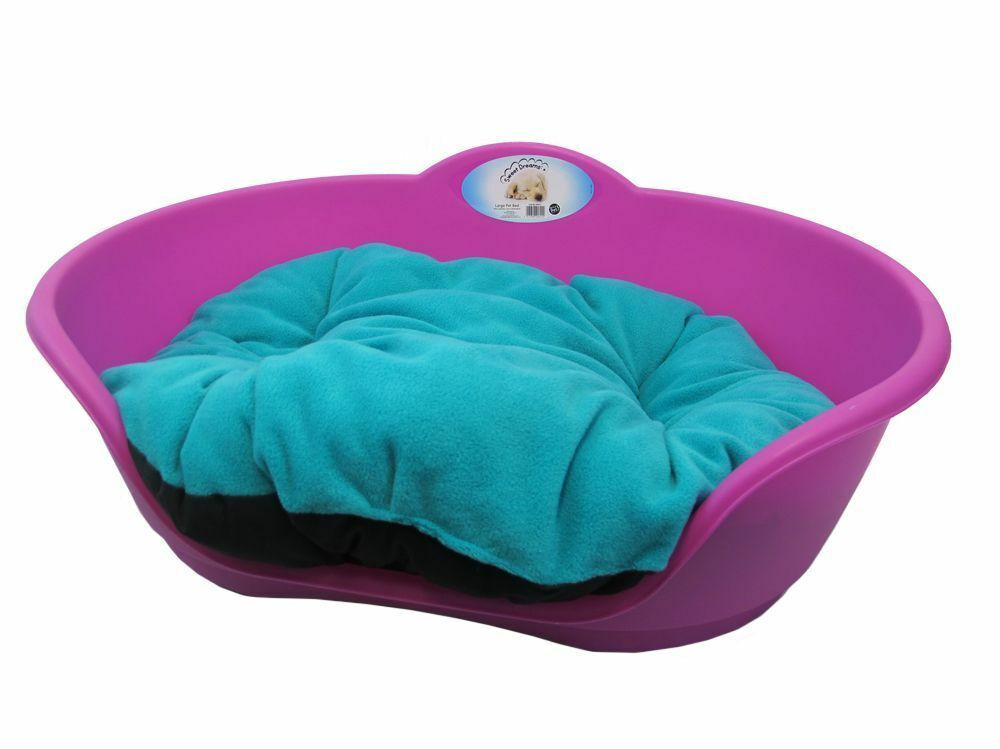 Heavy Duty Fuchsia Pink Pet Bed With Teal Cushion Uk Made
