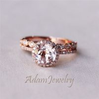 14K Rose Gold 7mm Morganite Engagement Ring Set Wedding ...