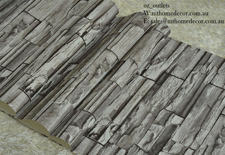 3d Brick Wallpaper Uk 10m Wallpaper 3d Brick Stone Natural Colour Slate Outdoor