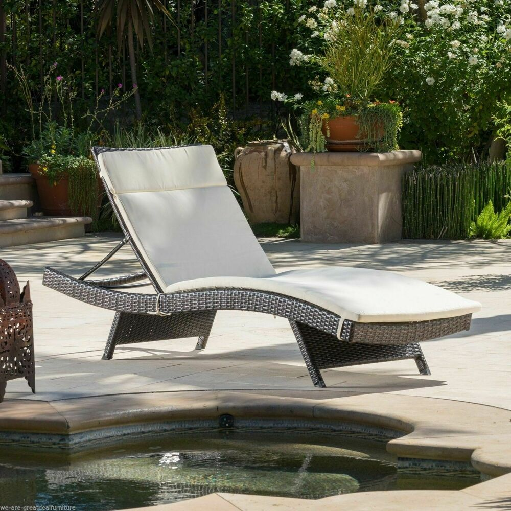 Lawn Furniture Chaise Lounge Outdoor Patio Furniture Pool Adjustable Wicker Chaise