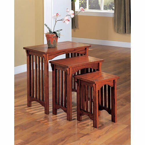 Nesting End Tables Set 3 Pc Mission Style Side Oak Finish - Nesting End Tables