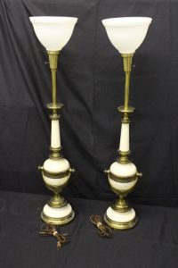 Pair of Vintage Stiffel Hollywood Regency Brass & Enamel