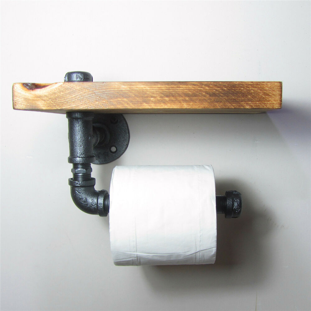 Toilet Paper Holder Unique Urban Industrial Wall Mount Iron Pipe Toilet Paper Holder Roller Wood Shelf Ebay
