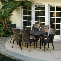 (7-Piece) Outdoor Patio Furniture Brown All-weather Wicker ...