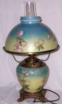 Vintage 18 Electric Blue Hurricane Lamp Pink Flowers Key ...