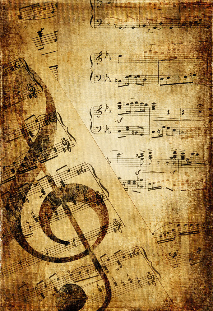 Framed Print - Vintage Music Paper (Picture Poster Art Piano Violin