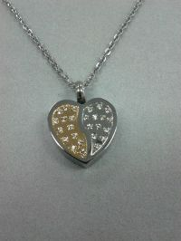 CZ Heart Cremation Urn Pendant Necklace Keepsake Jewelry ...