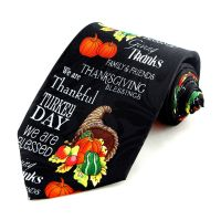 Thankful Turkey Day Mens Necktie Thanksgiving Family ...