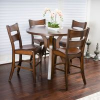 Casual 5-piece Round Counter Height Brown Wood Dining Set ...
