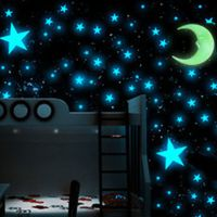 HOT 100pcs Stars 1 Moon 3D DIY Glow in the Dark Bedroom ...