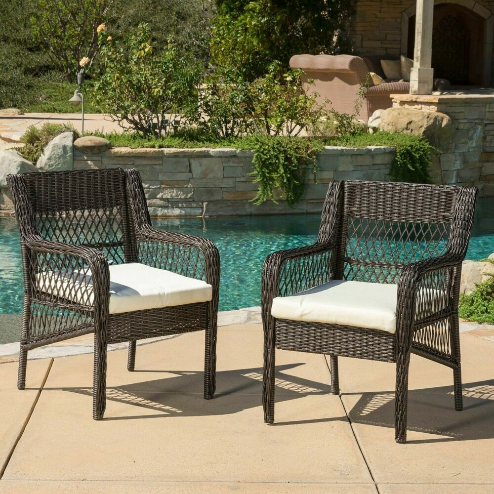 Set Of 2 Outdoor Brown Wicker Dining Chair With Beige