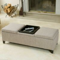 Elegant Design Chamois Fabric Storage Ottoman with Center ...