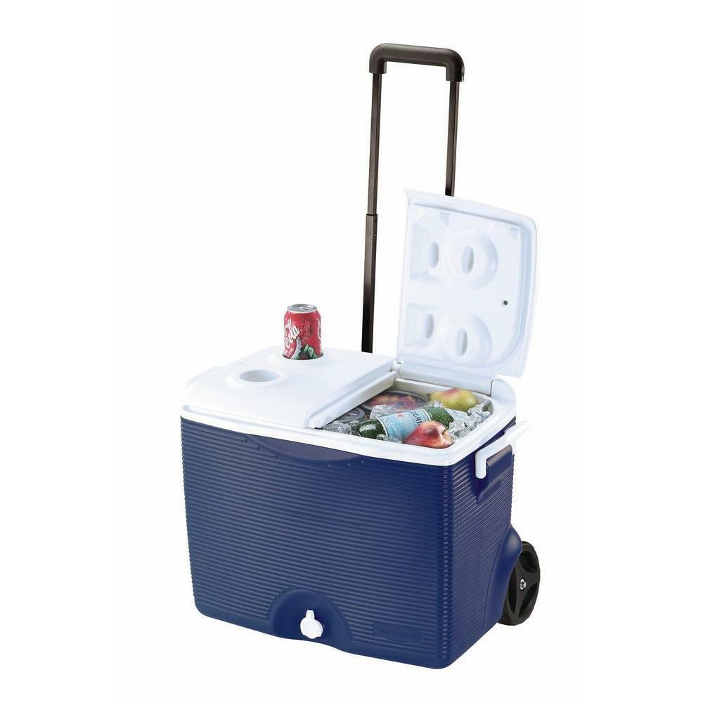 Rubbermaid 45 Qt Blue Wheeles Cooler Outdoor Camping Ice