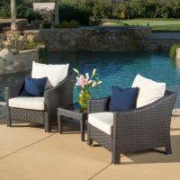 Outdoor 3-piece Brown Wicker Bistro Set with Cushions | eBay