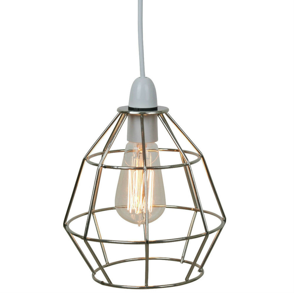 Chrome Industrial Style Cage Ceiling Pendant Light Lamp