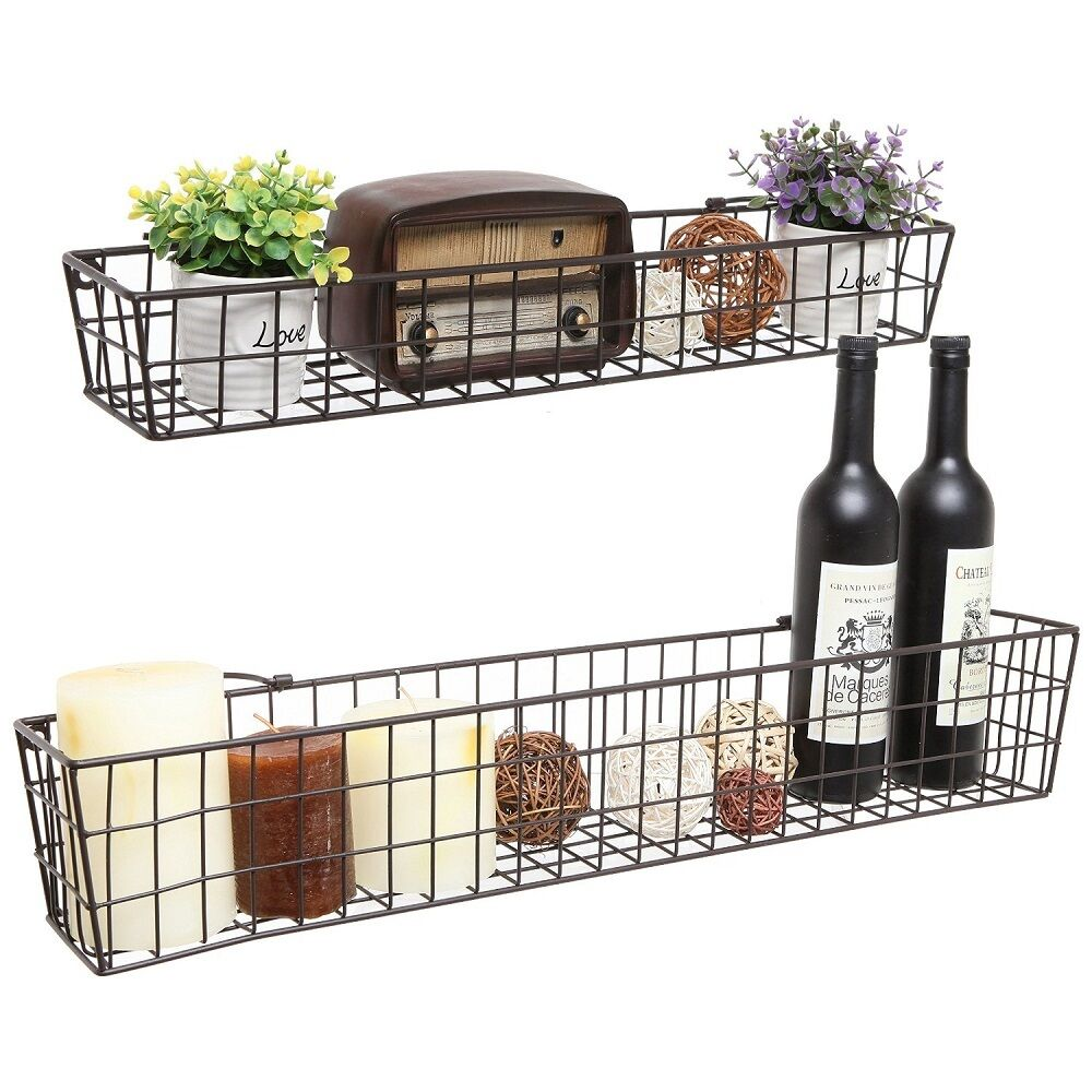 Wall Shelf Basket Metal Wire Shelves Storage Rack Country