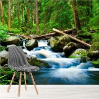 Waterfall In Mountain Forest River Landscape Wall Mural ...