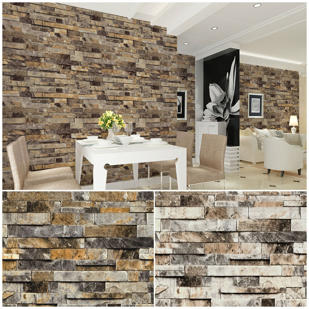 Faux Brick Interior Wall Vinyl Vintage Faux Brick Stone 3d Wallpaper For Home Bathroom Realistic Wallpape Ebay