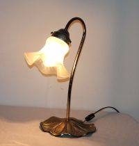 VTG Metal Flower Table Lamp Glass Shade Works Lily-Pad ...