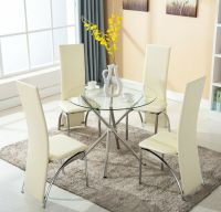 4 Chairs 5 Piece Round Glass Dining Table Set Kitchen Room ...