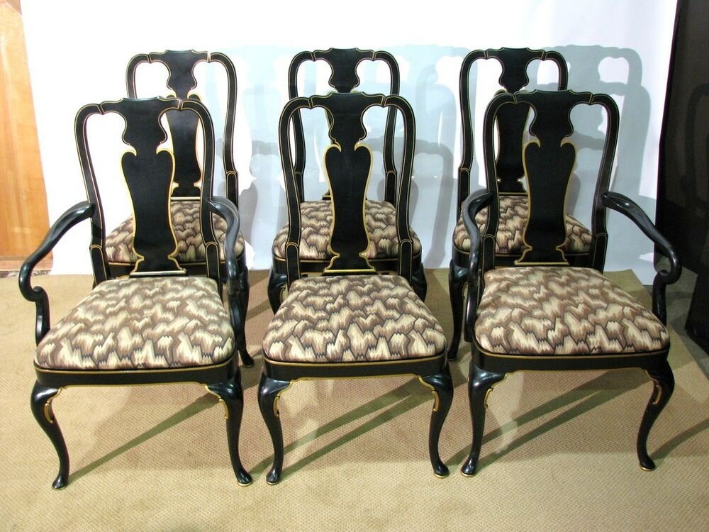 6 Vintage 1976 Kindel Furniture Queen Anne Dining Chairs