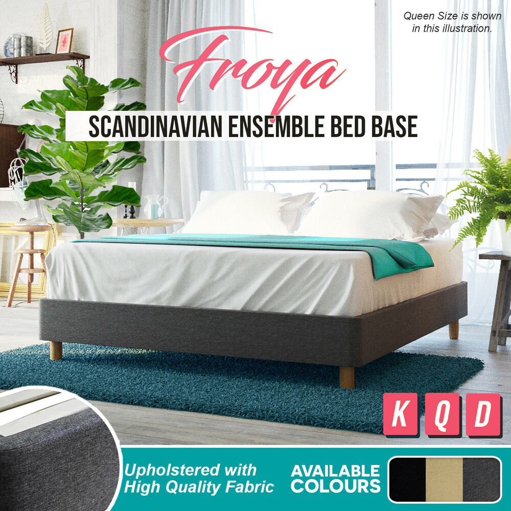 King Bed Ensemble Base Only New Upholstered Fabric Bed Base Queen King Size Charcoal Wooden