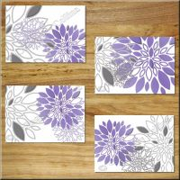Modern Floral Flowers Burst Purple Gray Wall Art Prints ...