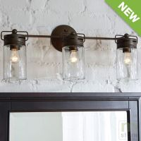 Bathroom Vanity 3 Light Fixture Aged Bronze Mason Jar Wall ...