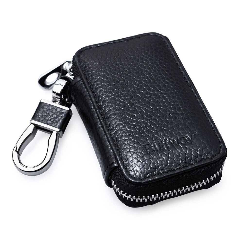 Leather Car Key Remote Keychain Holder Coin Keyring Pouch