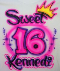 Airbrushed Personalized Sweet 16 Birthday Party T-shirt ...