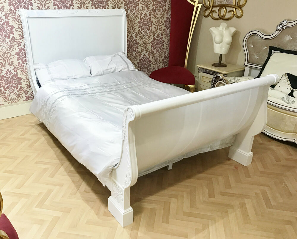 4ft 6 Bed French Bed Wooden Double White 4ft 6 Frame Carving Shabby Chic Sleigh Antique Ebay