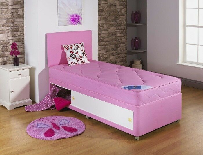 Pink 3ft Single Divan Bed Kids Bed Slide Storage 2