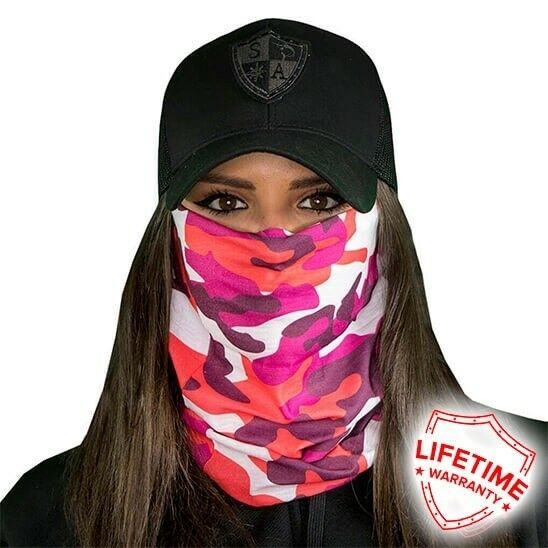 MOTORCYCLE FACE MASK - DESIGNER PINK - (Moto, Hunting, Fishing
