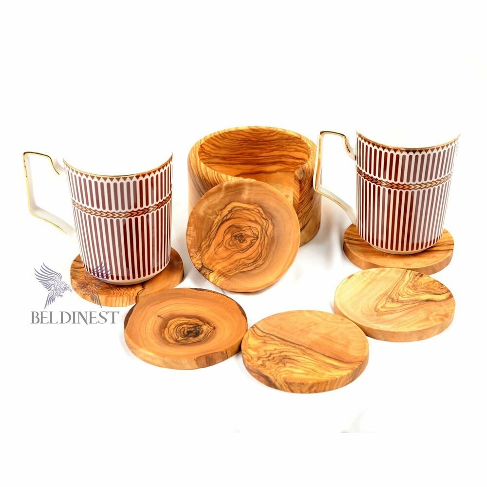 Wooden Coaster Holder Hand Carved Large Coaster Set And Holder Handmade From Olive Wood 23867944928 Ebay