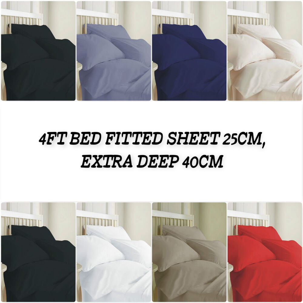 Double Bed 100 100 Egyptian Cotton T200 4ft Small Double Bed Fitted Sheet 25cm Extra Deep40cm Ebay