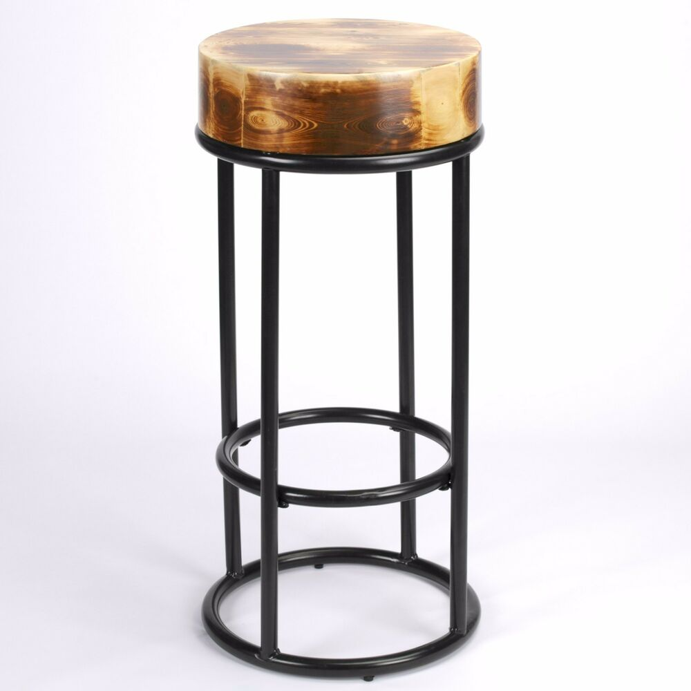 Tabouret Noir Et Bois 78cm Industrial Metal Black Bar Stool Chunky Round Wooden Top Kitchen Restaurant Ebay