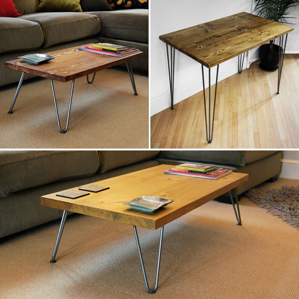 Coffee Table Hairpin Legs Side Table Desk Solid Wood