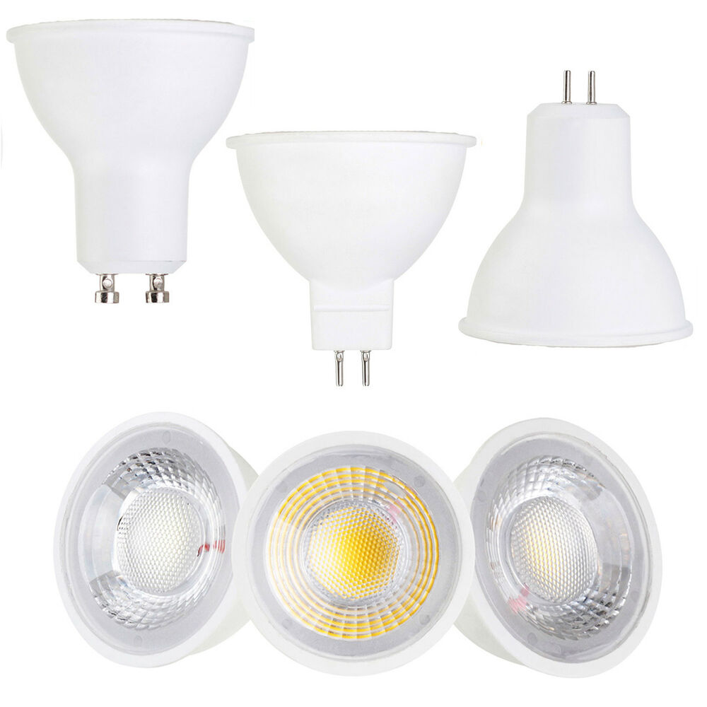 Led Gu10 Cob Led Spotlight Gu10 Mr16 Gu5 3 Base 5w 7w Ac 110v 220v Dc 12v Light Bulbs Ebay
